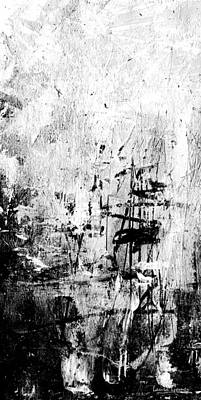 Old Memories - Black And White Abstract Art By Laura Gomez - Vertical Size Poster by Laura  Gomez