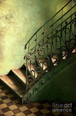 Old Metal Stairs With Decorated Handrail Poster by Jaroslaw Blaminsky