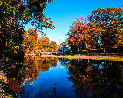 Old Mill House Pond In Autumn Fine Art Photograph Print With Vibrant Fall Colors Poster by Jerry Cowart