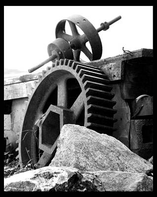 Old Mill Of Guilford Gears Black And White Poster by Sandi OReilly