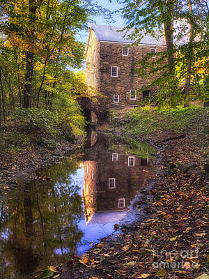 Old Mill Reflected In A Creek Poster by George Oze