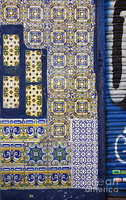 Old Mixed Geometric Tiles In Madrid Poster by RicardMN Photography