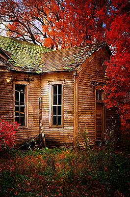 Old One Room School House In Autumn Poster