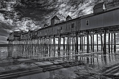 Old Orchard Beach Pier Bw Poster by Susan Candelario