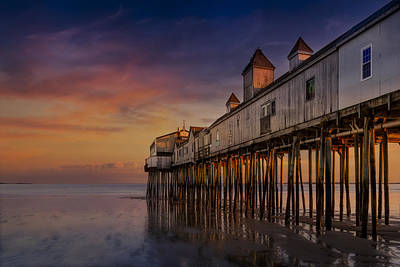 Old Orchard Beach Pier Sunset Poster by Susan Candelario