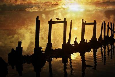 Poster featuring the photograph Old Pier At Sunset by Marty Koch