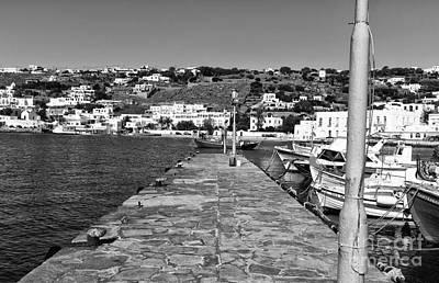 Old Port Walk In Mykonos Mono Poster by John Rizzuto