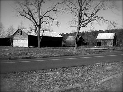 Poster featuring the photograph Old Red Barn In Black And White by Amazing Photographs AKA Christian Wilson