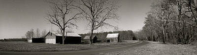 Old Red Barn In Black And White Long Poster
