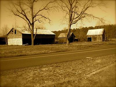 Poster featuring the photograph Old Red Barn In Sepia by Amazing Photographs AKA Christian Wilson