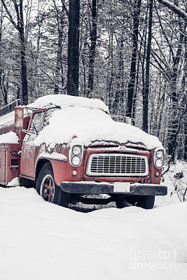 Old Red Fire Truck Covered With Snow Poster