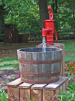 Poster featuring the photograph Old Red Water Pump by Val Miller