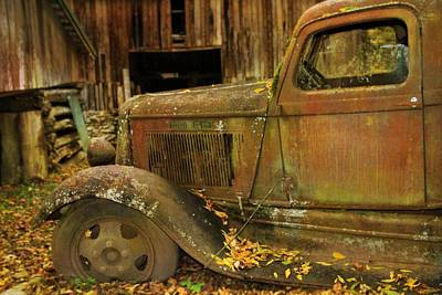 Old Rusted Truck In Autumn Poster