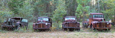 Old Rusty Cars And Trucks On Route 319 Poster