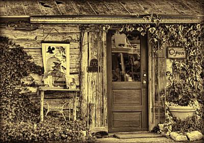 Old Salado Log Cabin Shop Sepia Poster by Linda Phelps