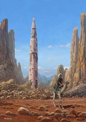 Old Saturn V Rocket In Desert Poster by Martin Davey