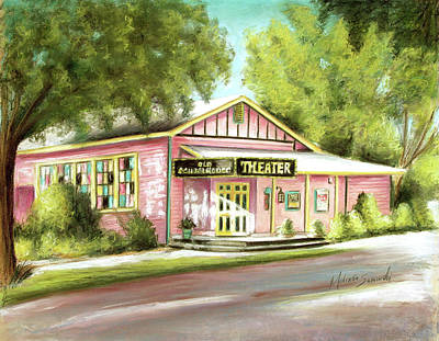 Poster featuring the painting Old Schoolhouse Theater On Sanibel Island by Melinda Saminski