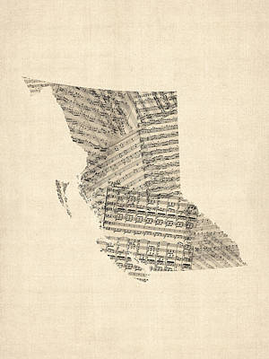 Old Sheet Music Map Of British Columbia Canada Poster by Michael Tompsett