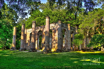Old Sheldon Church Ruins In South Carolina Poster by Reid Callaway
