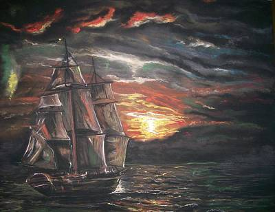 Poster featuring the pastel Old Ship Of The Sea by Peter Suhocke