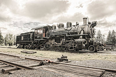 Poster featuring the photograph Old Steam Locomotive No. 97 - Made In America by Gary Heller
