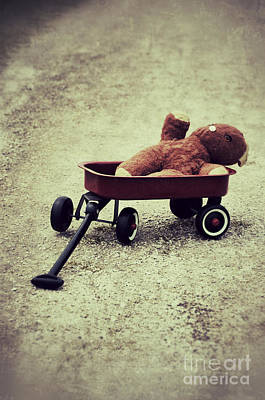 Old Teddy Bear In Red Wagon Poster