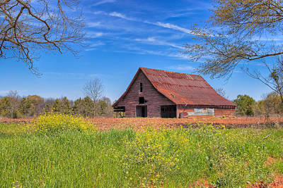 Old Tin Roofed Barn In Spring - Rural Georgia Poster