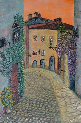 Poster featuring the painting Old Town In Piedmont by Felicia Tica