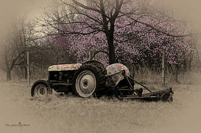 Old Tractor And Redbuds Sepia Poster