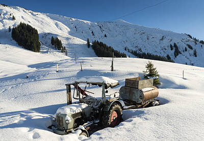 Old Tractor In Winter With Lots Of Snow Waiting For Spring Poster