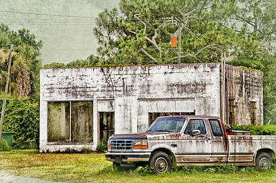 Old Truck And Old Gas Station Poster