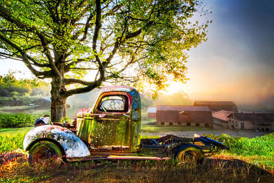 Old Truck In The Morning Poster by Debra and Dave Vanderlaan