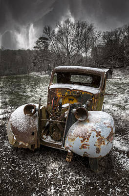 Old Truck In The Smokies Poster by Debra and Dave Vanderlaan