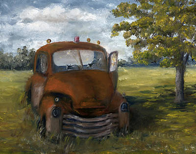 Poster featuring the painting Old Truck Shreveport Louisiana Wrecker by Lenora  De Lude