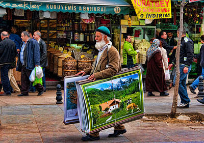 Poster Man At The Istanbul Spice Market Poster by David Smith