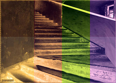 Old Vintage Building Wide Staircases Digitally Painted For Decoration Art Poster