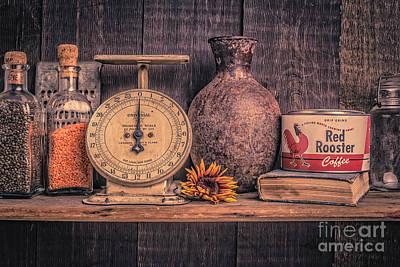 Old Vintage Kitchen Shelf Poster by Edward Fielding