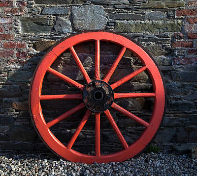 Old Wagon Wheel In Ireland Poster by Panoramic Images