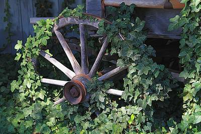 Old Wagon Wheel On The Farm Poster