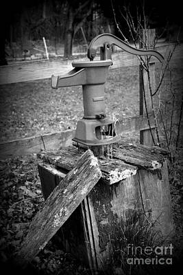 Old Water Pump Bw Poster
