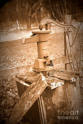 Old Water Pump Sepia Poster