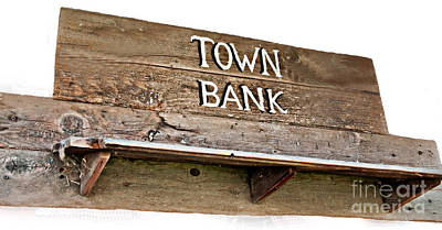Old Western Town Bank Sign  Poster