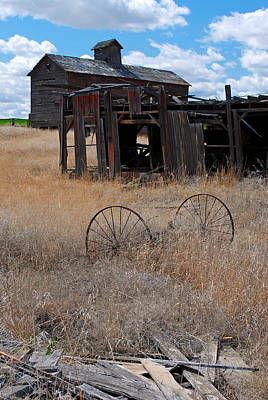 Poster featuring the photograph Old Wheels And Barn by Kjirsten Collier