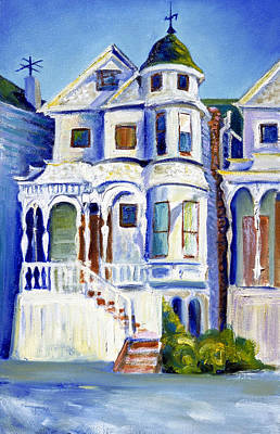 Poster featuring the painting Old White Victorian In Oakland California by Asha Carolyn Young