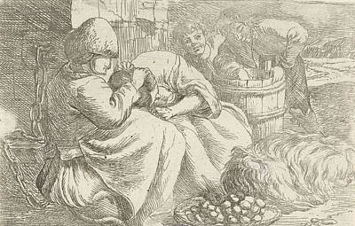 Old Woman Delouses A Girl, Jan Van Ossenbeeck Poster