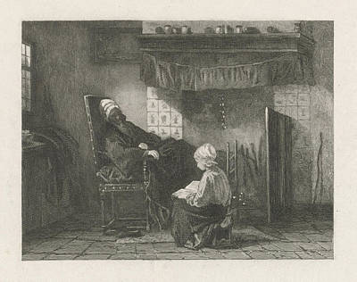 Old Woman In Front Of A Fire, Johann Heinrich Maria Hubert Poster