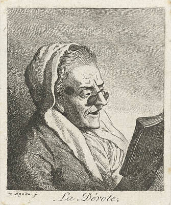 Old Woman Reading With Eyeglasses, Print Maker Theodorus De Poster