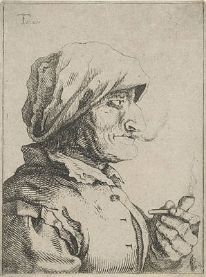 Old Woman Smokes A Pipe, Possibly Jan Lauwryn Krafft Poster