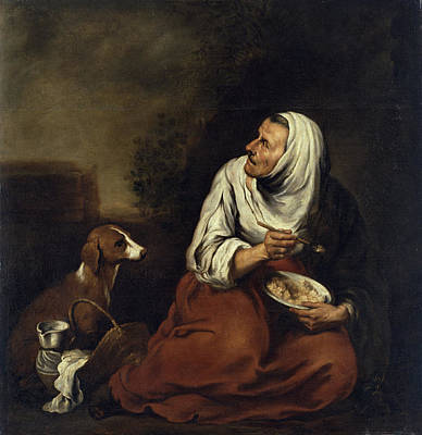 Old Woman With Dog Oil On Canvas See Also 160057 Poster by Bartolome Esteban Murillo