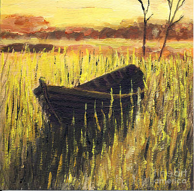 Old Wooden Boat In The Reeds  Poster